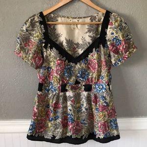 Viola Anthropologie floral silk Victorian blouse 6